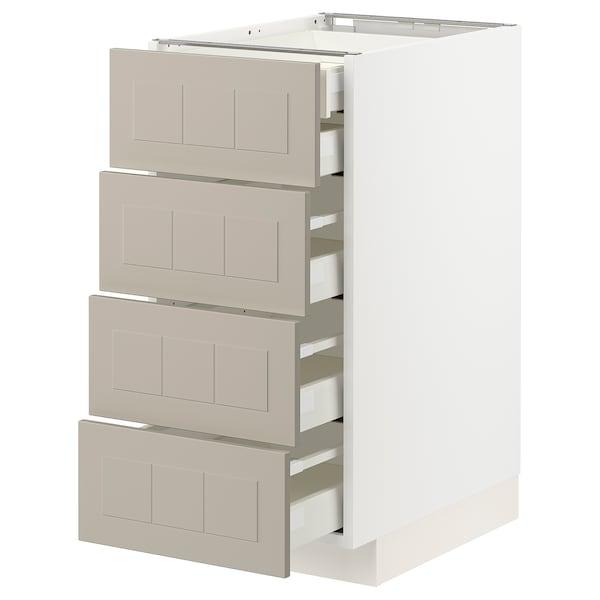 METOD / MAXIMERA Spod skr 4čelá/2níz/3str zás, biela/Stensund béžová, 40x60 cm