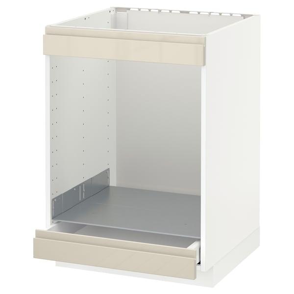 METOD / MAXIMERA Spod skr/var dos/rur/zas, biela/Voxtorp lesklá svetlobéžová, 60x60 cm