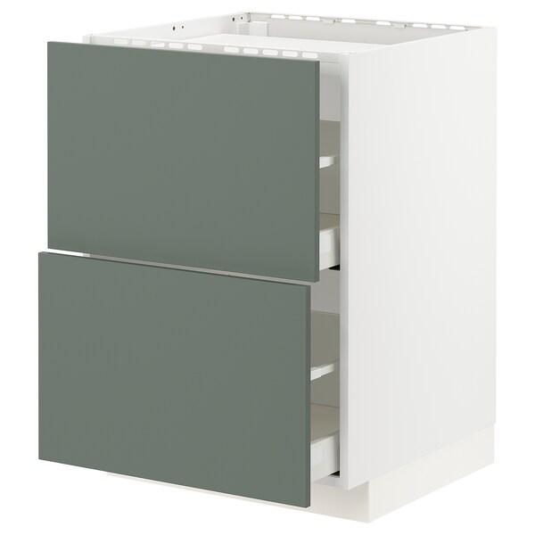 METOD / MAXIMERA Spod skr varná dos/2 čelá/2 zás, biela/Bodarp sivozelená, 60x60 cm