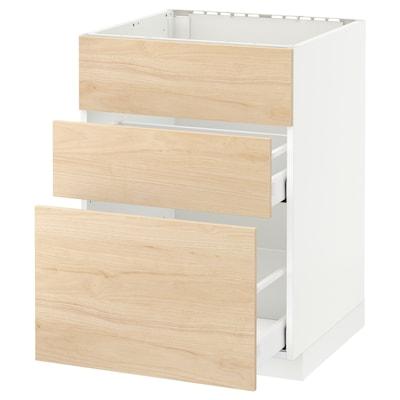 METOD / MAXIMERA Spod skrin/drez+3čelá/2zásuvky, biela/Askersund vzor svetl jaseňa, 60x60 cm