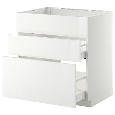 METOD / MAXIMERA Spod skrin/drez+3čelá/2zásuvky, biela/Ringhult biela, 80x60 cm