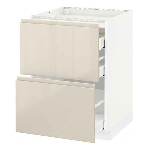 METOD / MAXIMERA Spod skrin var dos/2 čelá/3 zásuvky, biela/Voxtorp lesklá svetlobéžová, 60x60 cm