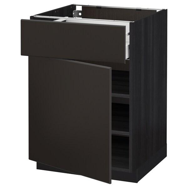 METOD / MAXIMERA Spodná skrinka so zásuv./dvierkami, čierna/Kungsbacka antracit, 60x60 cm