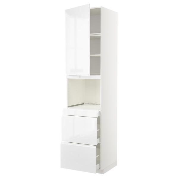METOD / MAXIMERA Vys skr na mikr s dver/3 zás, biela/Voxtorp lesk/biela, 60x60x240 cm