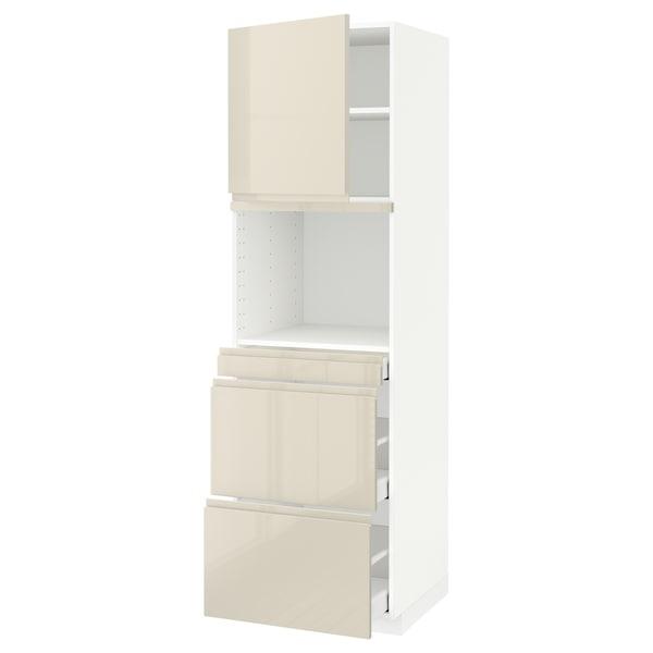 METOD / MAXIMERA Vys skr na mikr s dver/3 zás, biela/Voxtorp lesklá svetlobéžová, 60x60x200 cm