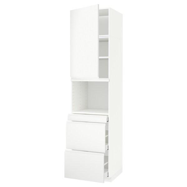 METOD / MAXIMERA Vys skr na mikr s dver/3 zás, biela/Voxtorp matná biela, 60x60x240 cm