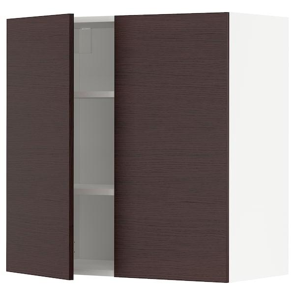 METOD Nást. skrin s polic/2 dv, biela Askersund/tmavohnedá jaseňový vzhľad, 80x80 cm