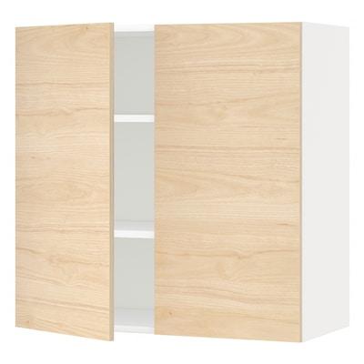 METOD Nást. skrin s polic/2 dv, biela/Askersund vzor svetl jaseňa, 80x80 cm