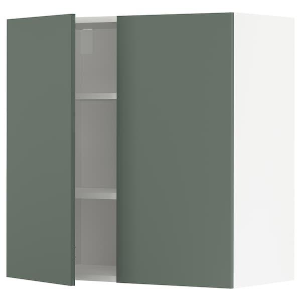METOD Nást. skrin s polic/2 dv, biela/Bodarp sivozelená, 80x80 cm