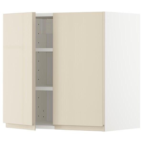 METOD Nást. skrin s polic/2 dv, biela/Voxtorp lesklá svetlobéžová, 60x60 cm