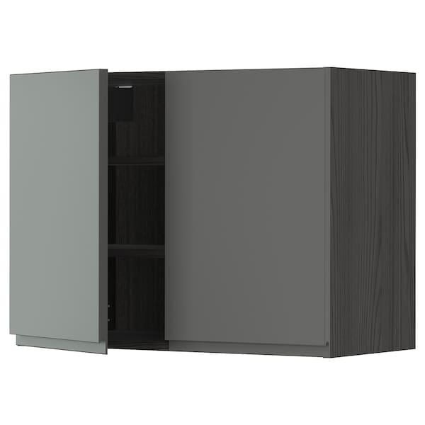 METOD Nást. skrin s polic/2 dv, čierna/Voxtorp tmavosivá, 80x60 cm