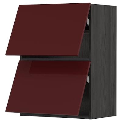 METOD Nast skrinka horiz s 2 dvierka, čierna Kallarp/lesklá tmavá červenohnedá, 60x80 cm