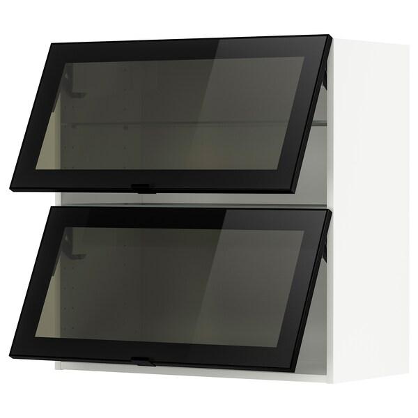 METOD Nast skrinka horiz s 2 skl dv, biela/Jutis dymové sklo, 80x80 cm