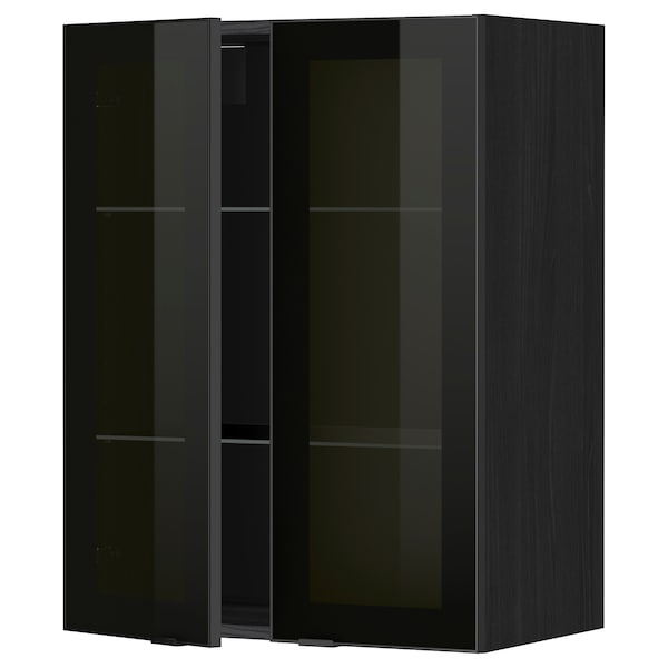 METOD Nást skrinka/police/2 skl dvere, čierna/Jutis dymové sklo, 60x80 cm