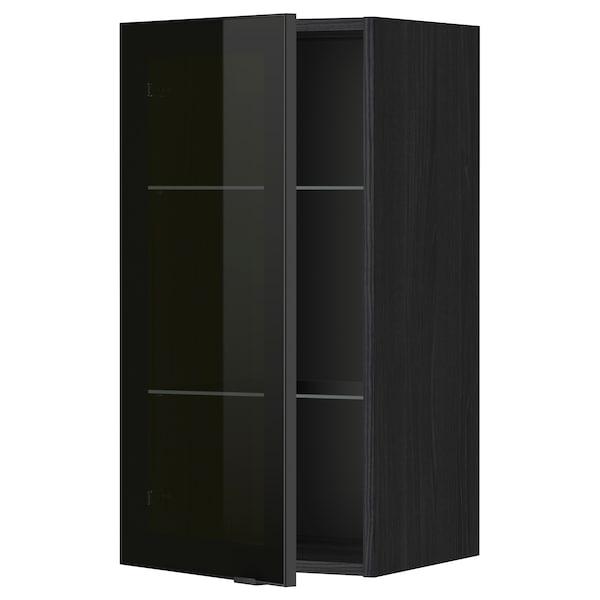 METOD Nást. skrinka s polic/ skl dv, čierna/Jutis dymové sklo, 40x80 cm