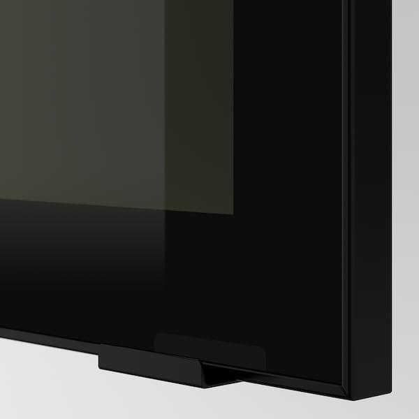 METOD Nást. skrinka s polic/ skl dv, čierna/Jutis dymové sklo, 30x80 cm