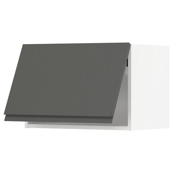 METOD Nástenná skrinka horizontálna, biela/Voxtorp tmavosivá, 60x40 cm