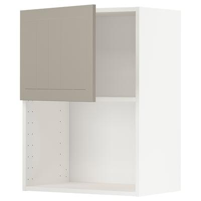 METOD Nástenná skrinka na mikrovlnku, biela/Stensund béžová, 60x80 cm
