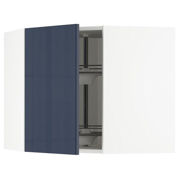 METOD Nástenná skrinka s otoč.košom, biela/Järsta čierno-modrá, 68x60 cm