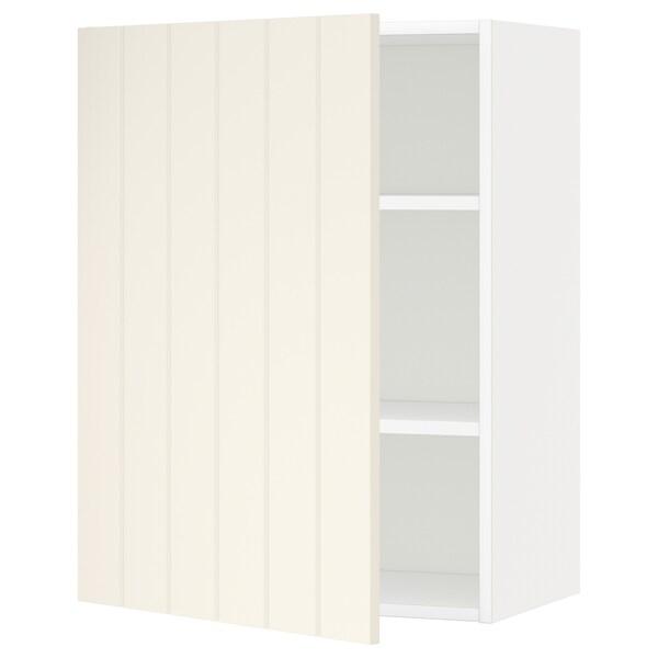 METOD Nástenná skrinka s policami, biela/Hittarp krémová, 60x80 cm