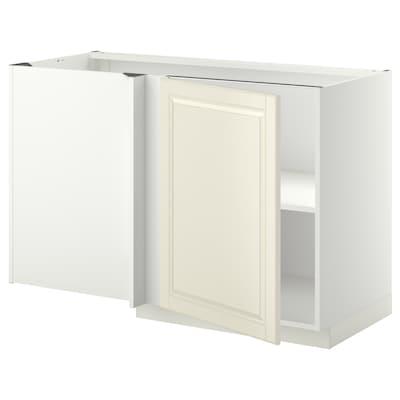 METOD Rohová skrinka s policou, biela/Bodbyn krémová, 128x68 cm