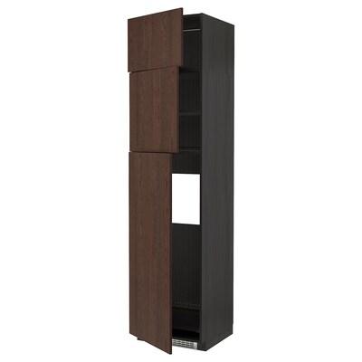 METOD Skrinka/chlad s 3 dv, čierna/Sinarp hnedá, 60x60x240 cm
