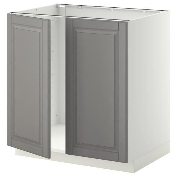METOD Skrinka na drez + 2dvere, biela/Bodbyn sivá, 80x60 cm