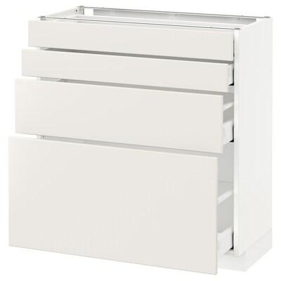 METOD Spod skr 4 čelá/4 zásuvky, biela/Veddinge biela, 80x37 cm
