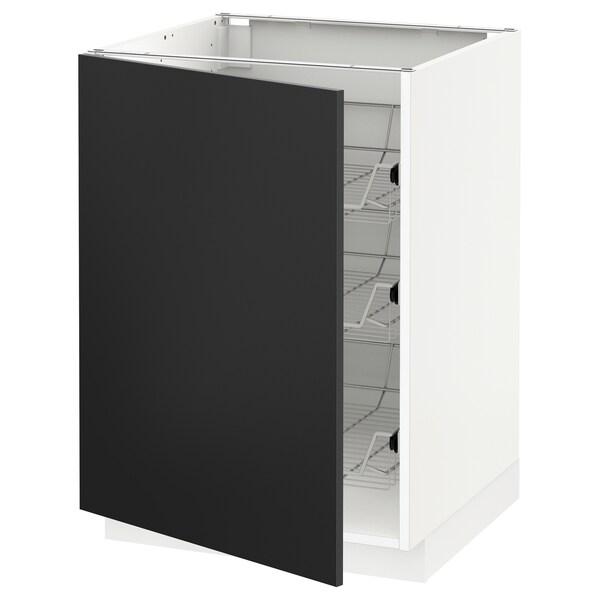 METOD Spodná skrinka s drôtenými košmi, biela/Uddevalla antracit, 60x60 cm