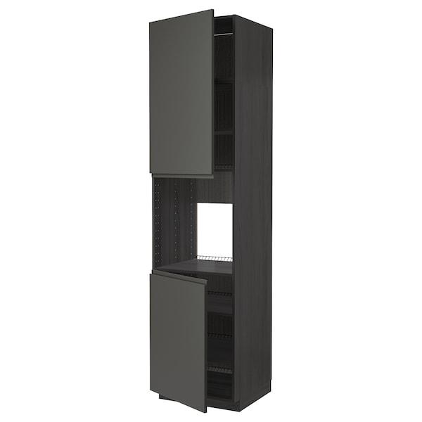 METOD Vys skr na rúr/2dv/pol, čierna/Voxtorp tmavosivá, 60x60x240 cm
