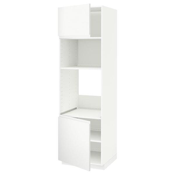 METOD Vys skr na rúr/mikr rúr/2dvier/pol, biela/Voxtorp matná biela, 60x60x200 cm