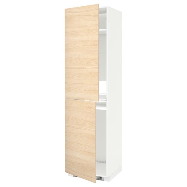 METOD Vysoká skriňa na spotrebiče, biela/Askersund vzor svetl jaseňa, 60x60x220 cm