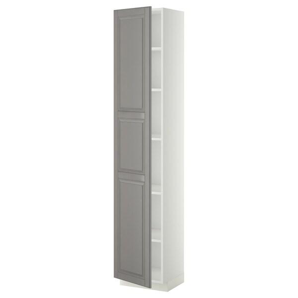 METOD Vysoká skrinka s policami, biela/Bodbyn sivá, 40x37x200 cm