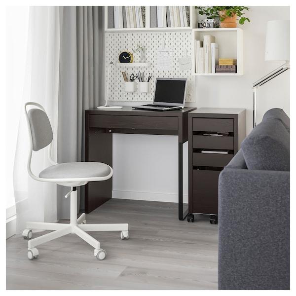 MICKE Stôl, čierno-hnedá, 73x50 cm