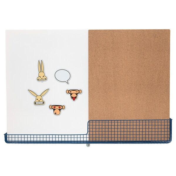 MÖJLIGHET nástenka/tabuľa s košíkom biela/modrá 71 cm 49 cm
