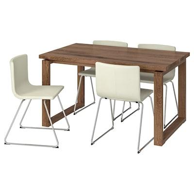 MÖRBYLÅNGA / BERNHARD Stôl a 4 stoličky, hnedá/Mjuk biela, 140x85 cm