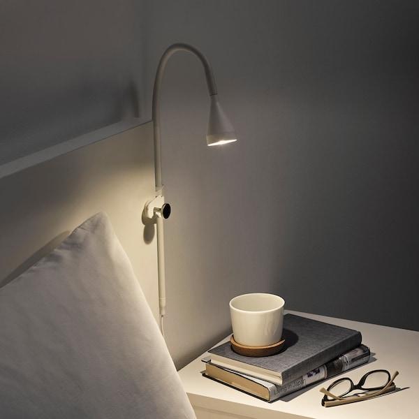 NÄVLINGE Nástenná LED lampa/lampa so štipcom, biela