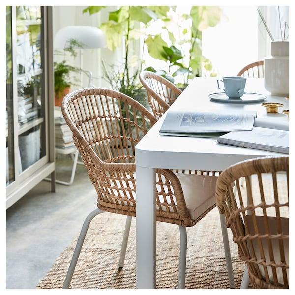 NILSOVE Stolička s opierkami, ratan/biela
