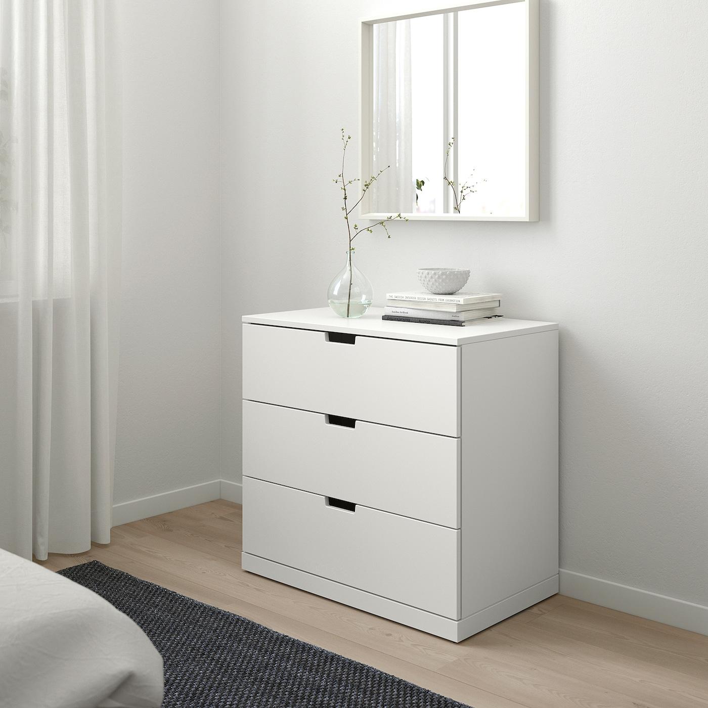 NORDLI Komoda s 3 zásuvkami, biela, 80x76 cm