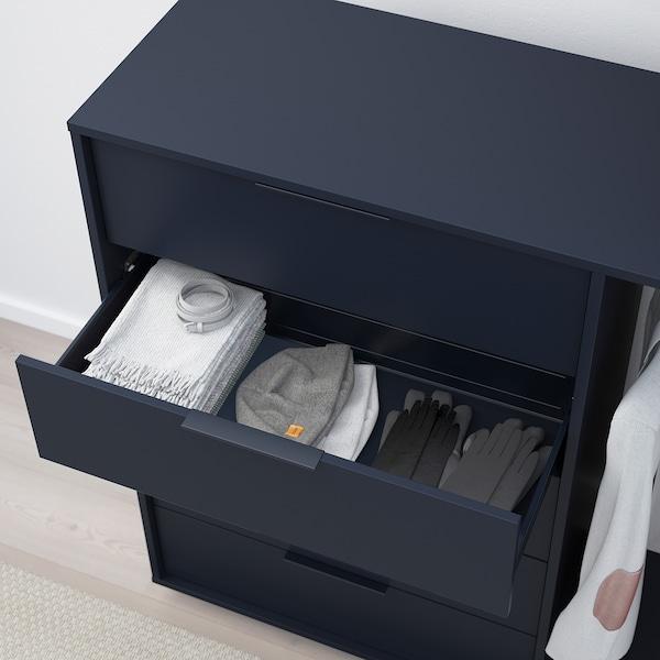 NORDMELA komoda so stojanom na šaty čierno-modrá 119 cm 44 cm 118 cm 74 cm 34 cm