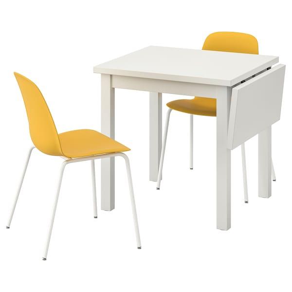 NORDVIKEN / LEIFARNE Stôl a 2 stoličky, biela/Broringe żltá, 74/104x74 cm