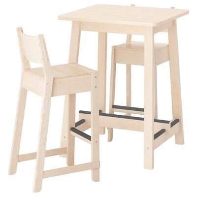 NORRÅKER / NORRÅKER Barový stolík a 2 barové stoličky, breza breza, 74 cm
