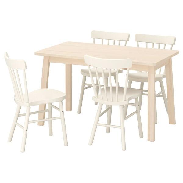 NORRÅKER / NORRARYD Stôl a 4 stoličky, breza/biela, 125x74 cm