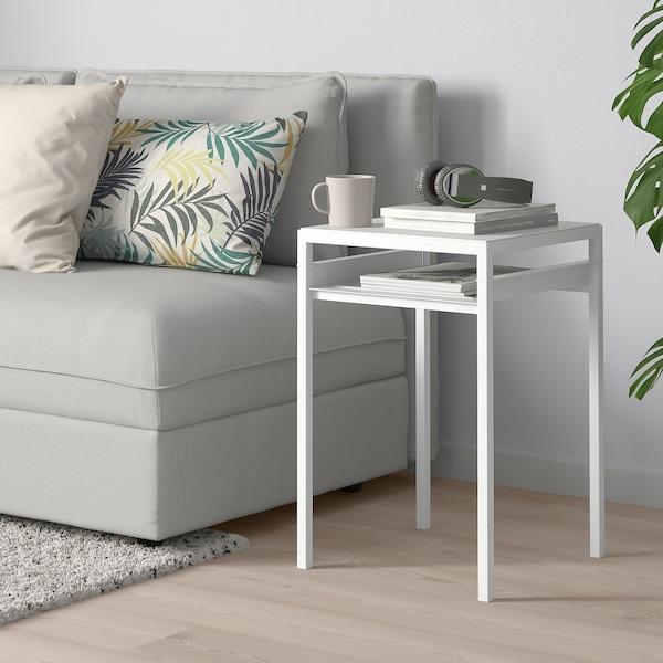 NYBODA príručný stolík/obojstr doska svetlosivá imitácia betónu/biela 40 cm 40 cm 60 cm