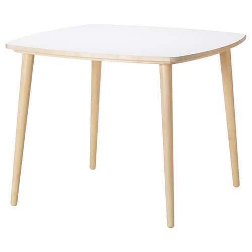 OMTÄNKSAM stôl biela/breza 95 cm 95 cm 74 cm