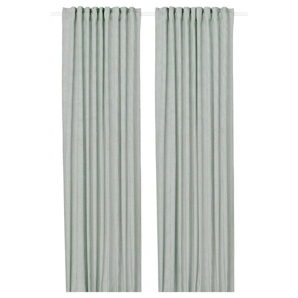 ORDENSFLY Závesy, 1 pár, biela/zelená, 145x300 cm