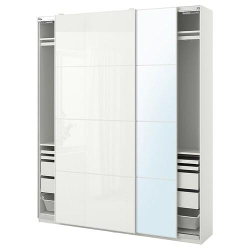PAX / FÄRVIK/AULI skriňová zostava biela/biele sklo zrkadlové sklo 200.0 cm 44.0 cm 236.4 cm