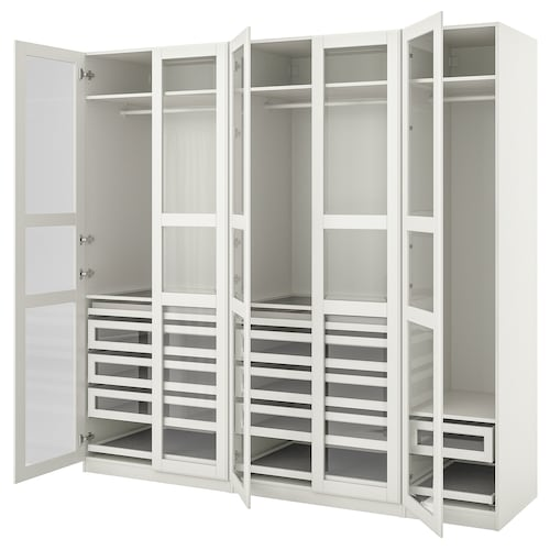 PAX / TYSSEDAL skriňová zostava biela/biela sklo 250.0 cm 60.0 cm 236.4 cm