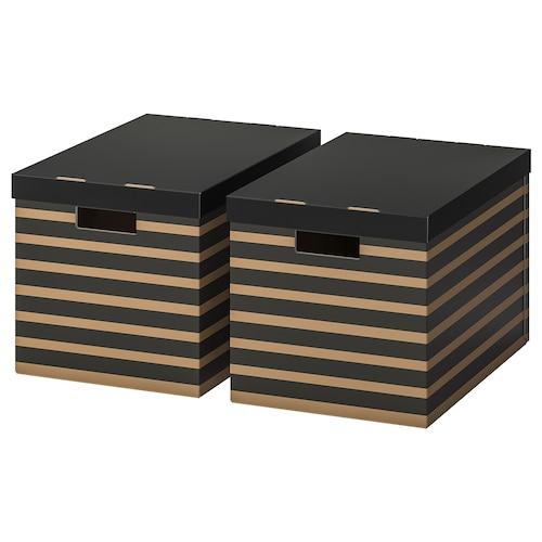 PINGLA škatuľa s vrchnákom čierna/prírodná 56 cm 37 cm 36 cm 2 ks