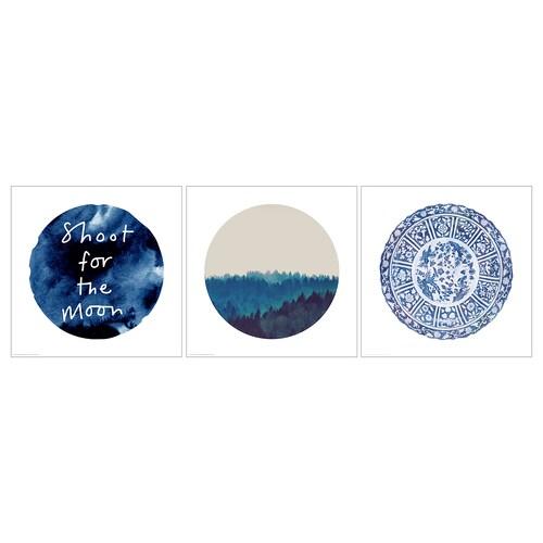PJÄTTERYD obraz modrý mesiac 40 cm 40 cm 3 ks